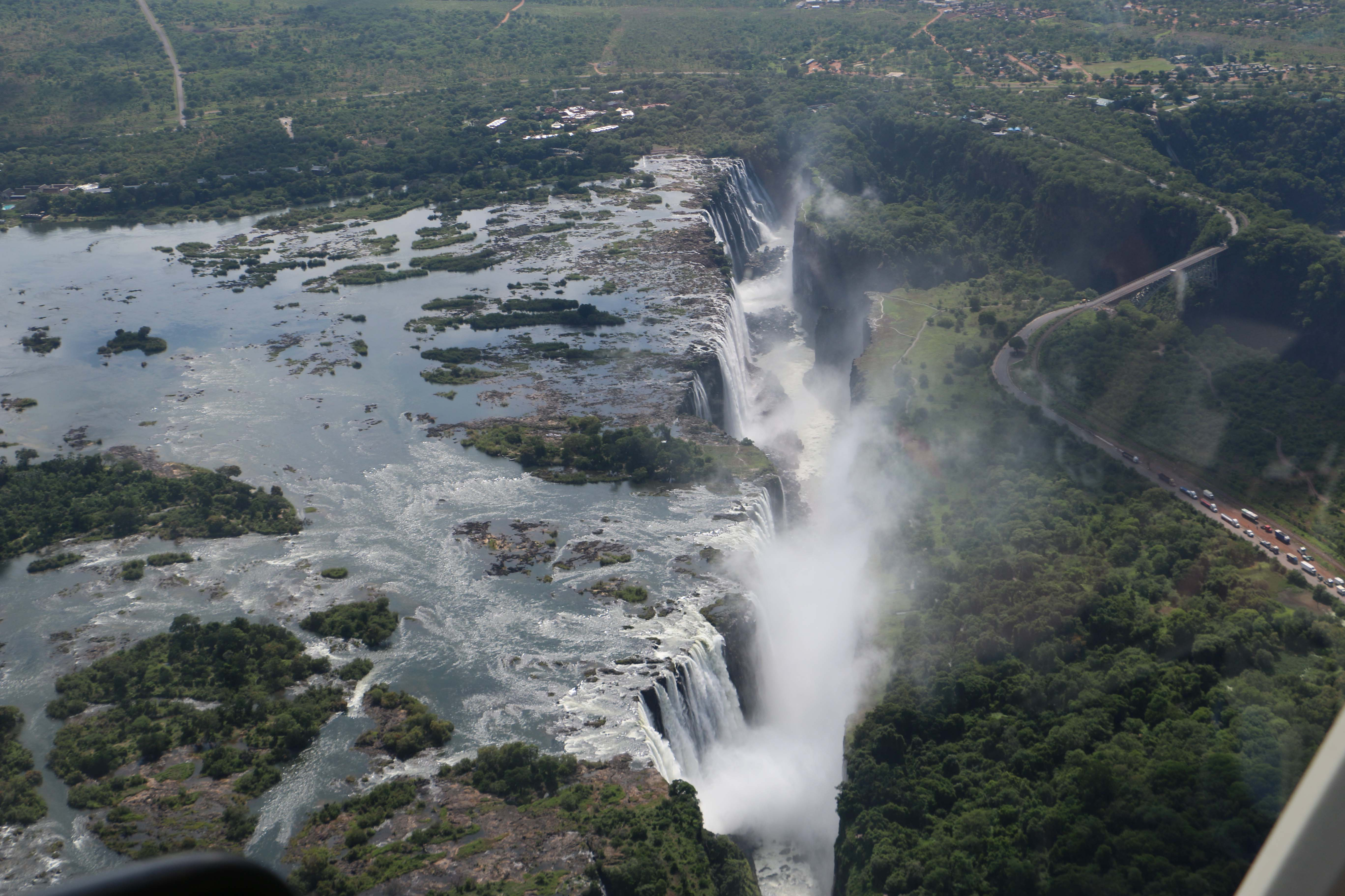 Aerial view of the Victoria Falls Gorge