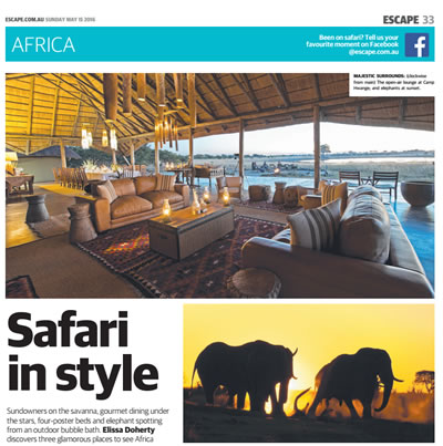 "Featured in the Daily Telegraph article ""Safari in Style"""